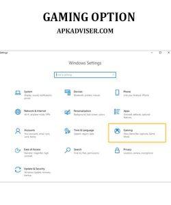 Gaming option on pc setting